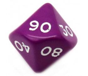 Dé 10 faces dizaine en opaque de 00 à 90 couleur violet