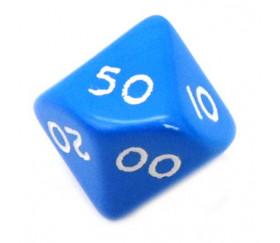 Dé 10 faces dizaine en opaque de 00 à 90 couleur bleu