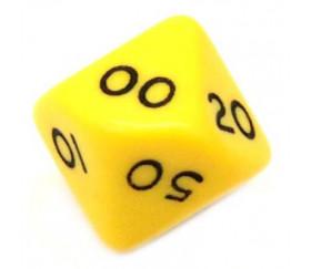 Dé 10 faces dizaine en opaque de 00 à 90 couleur jaune