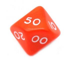 Dé 10 faces dizaine en opaque de 00 à 90 couleur orange
