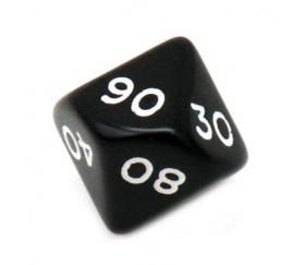 Dé 10 faces dizaine en opaque de 00 à 90 couleur noir