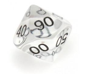 Dé 10 faces dizaine en acrylique de 00 à 90 couleur blanc transparent