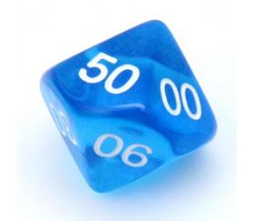 Dé 10 faces dizaine translucide de 00 à 90 couleur bleu