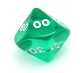 Dé 10 faces dizaine translucide de 00 à 90 couleur vert jdr