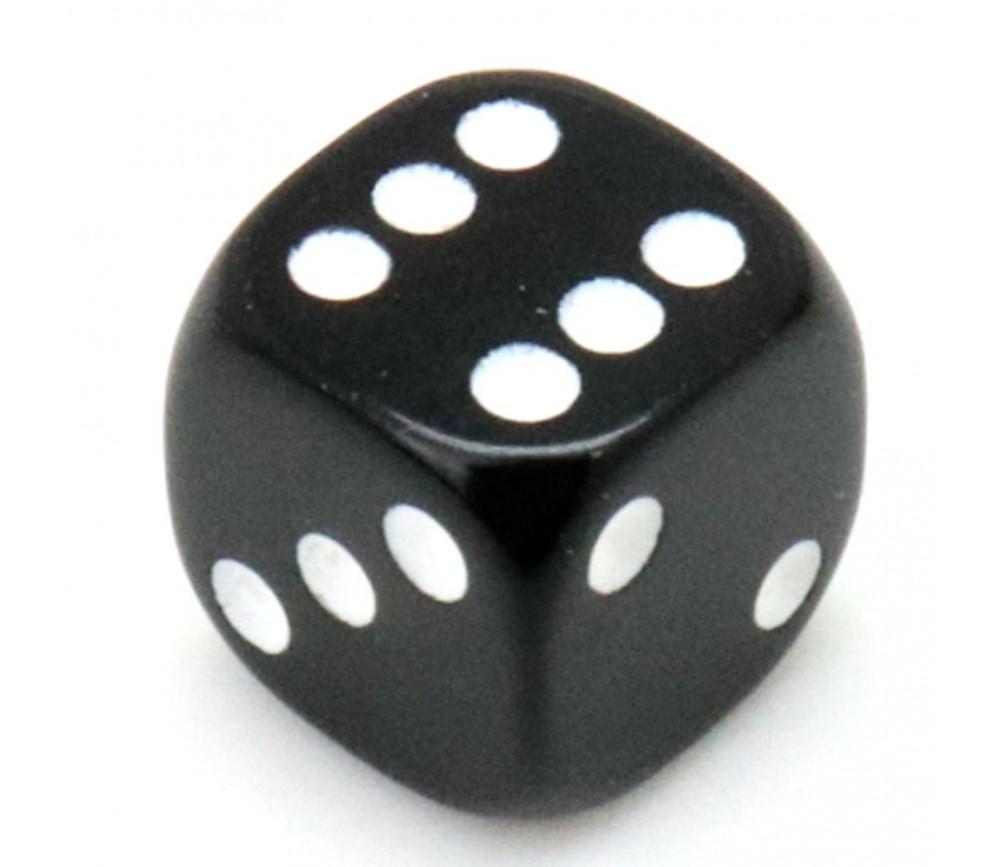 Dé noir en plastique 12 mm de 1 à 6 pour jeu de société