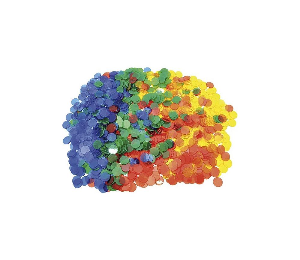 1000 Jetons transparents colorés de 3 cm de diamètre