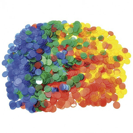 1000 Jetons transparents colorés de 3 cm de diamètre