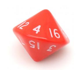 Dé 16 faces D16 à l'unité couleur rouge