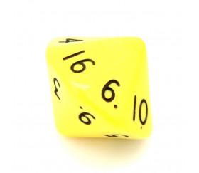 Dé 16 faces D16 à l'unité couleur jaune