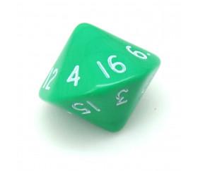 Dé 16 faces D16 à l'unité couleur vert