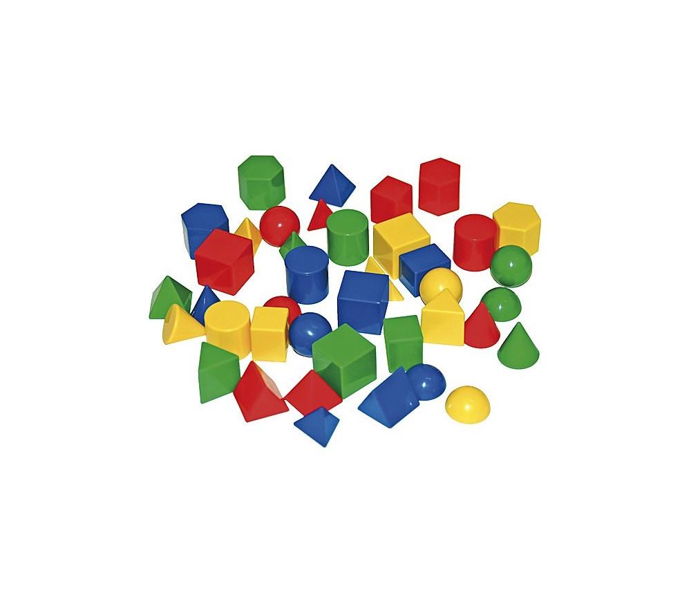 Lot de 40 pions de formes géométriques diverses