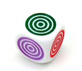 Dé 6 points couleurs cylindriques 16 mm plastique