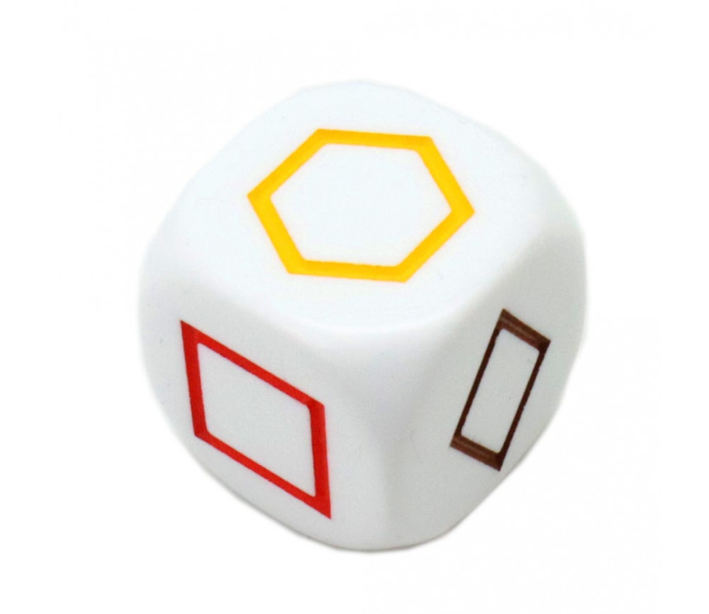 Grand dé à jouer formes géométriques couleurs