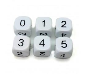 Dé à jouer chiffres 0 1 2 3 4 5 de 16 mm blanc