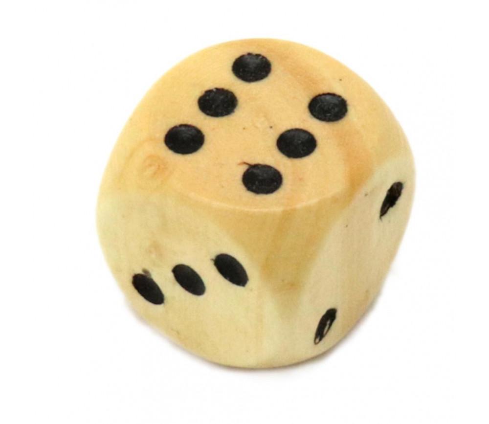 Dé bois 16 mm en buis de 1 à 6 pour jeu de société