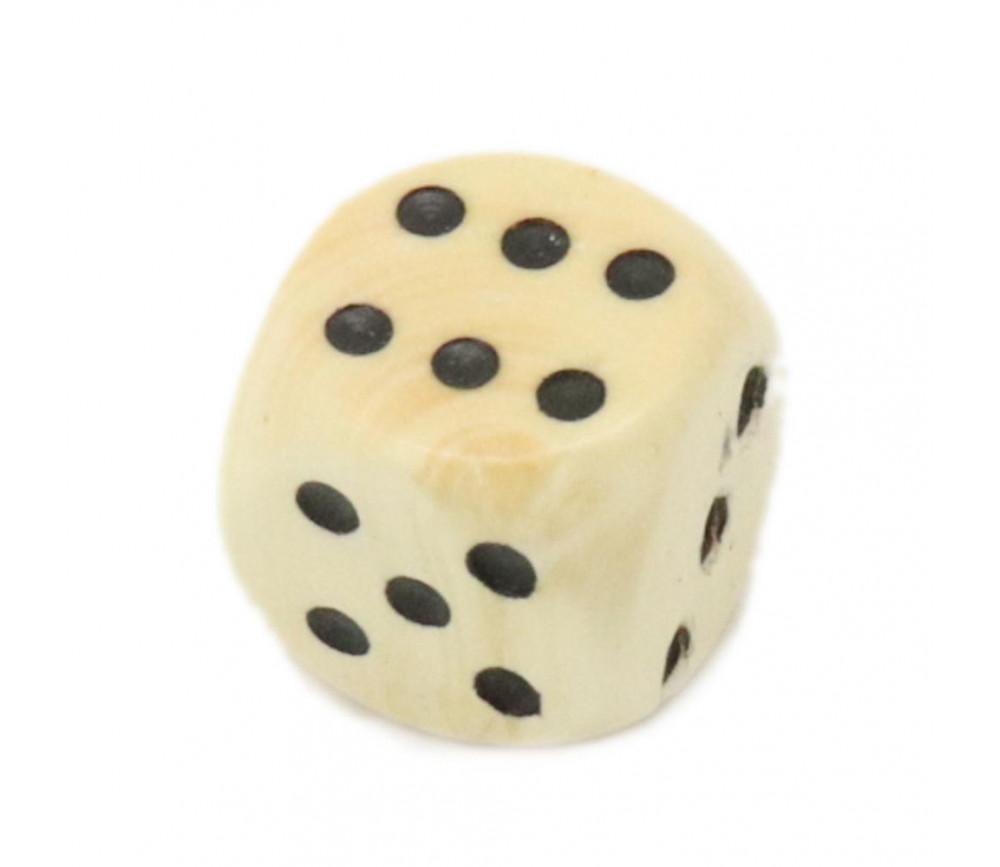 Dé bois 12 mm en buis de 1 à 6 pour jeu de société