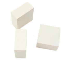 Pavé en bois Carré plat 20 x 20 x 10 mm jeux blanc