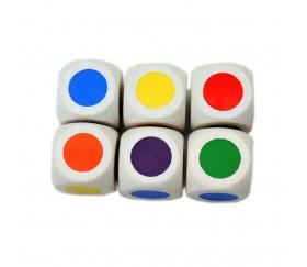 Dé bois 6 points couleurs 16 mm rouge, vert, jaune, bleu, violet et orange - fond blanc