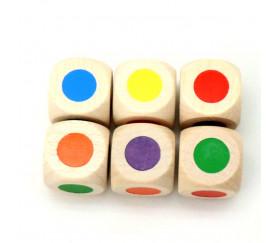 Dé bois 6 points couleurs 18 mm rouge, vert, jaune, bleu, violet et orange