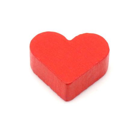 Coeur rouge en bois pion de 2 x 1.7 cm à l'unité
