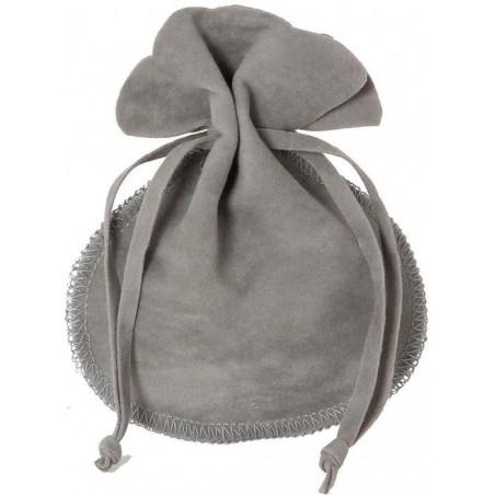Bourse petit Sac en daim 10x12 cm gris