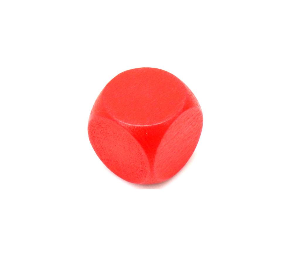 Dé neutre rouge 16 mm en bois sans marquage hêtre