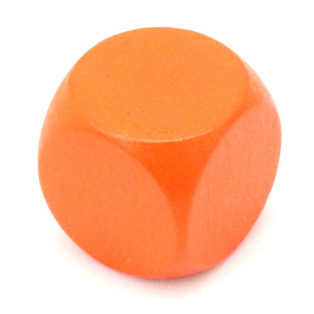 Dé neutre orange 16 mm en bois sans marquage hêtre