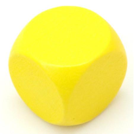 Dé neutre jaune 16 mm en bois sans marquage hêtre à l'unité