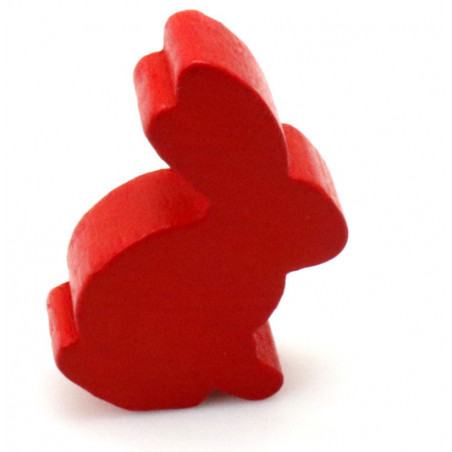 Pion en bois lapin rouge 22 x 31 x 8 mm animal pour jeu