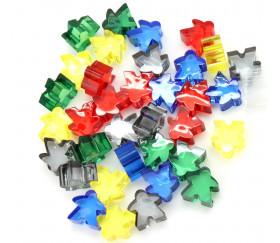 35 Pions meeple translucides 5 couleurs standards