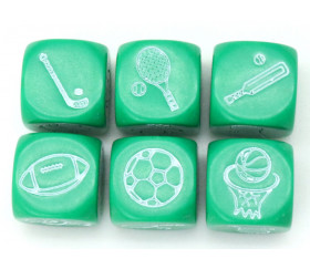 Dé à jouer sport : football, tennis, basketball, rugby, hockey, cricket