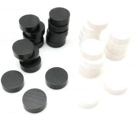 Set 30 pions de backgammon 21 mm jacquet bois