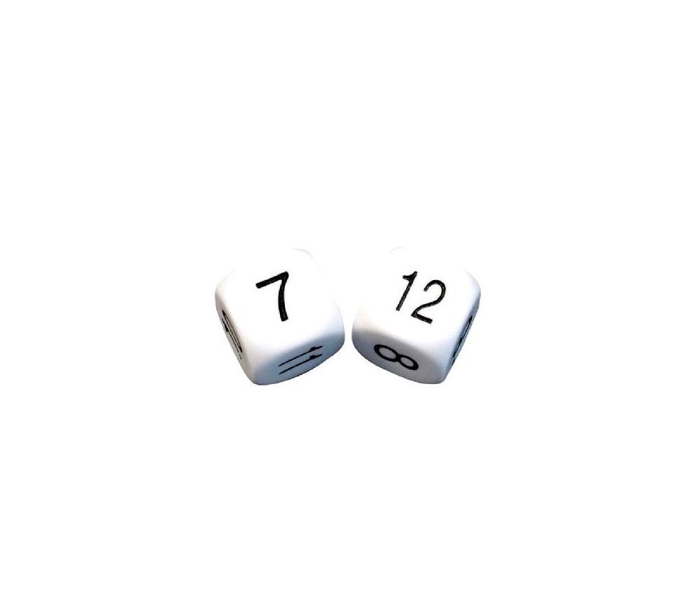 Dé à jouer chiffres 7 à 12 16 mm de côté blanc
