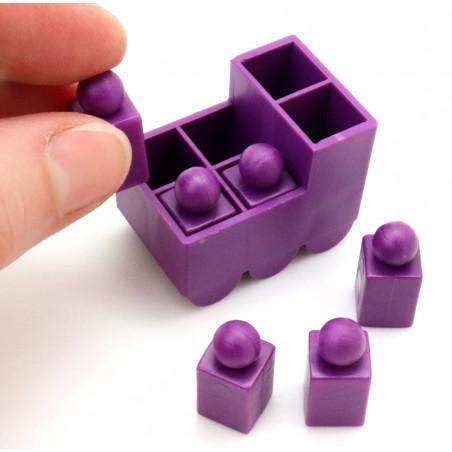 Train violet avec 6 pions encastrables