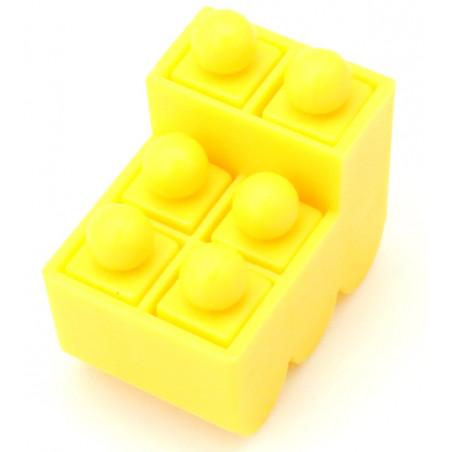 Train jaune avec 6 pions encastrables