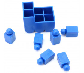Train bleu pour jeu avec 6 pions encastrables