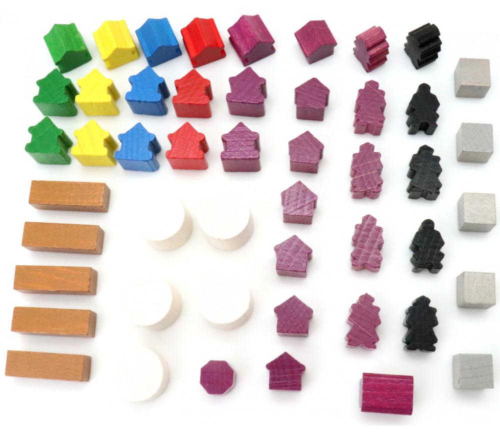Set 49 pions bâtiments pour jeux : 8 sortes