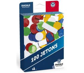 100 Jetons plastique ronds et rectangles 5 couleurs