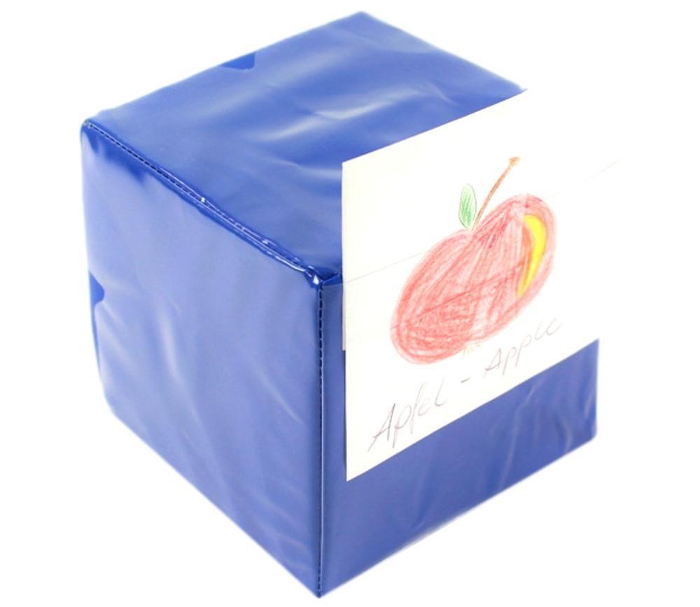 Dé géant bleu faces modifiables 15,5 cm personnalisable à volonté