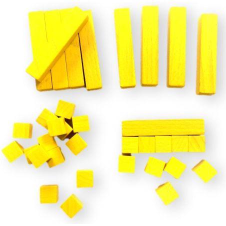 Kit Math 25 cubes bois 10x10x10 mm et 10 baguettes 10x10x50 mm