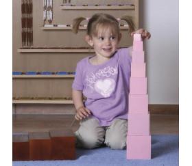 Tour Rose Montessori - 10 cubes en bois