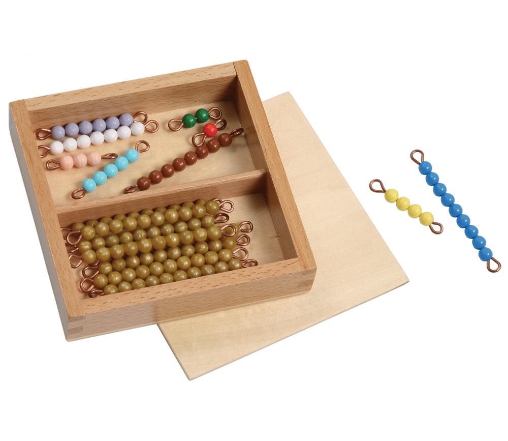 Boite individuelle 18 tiges perles Montessori
