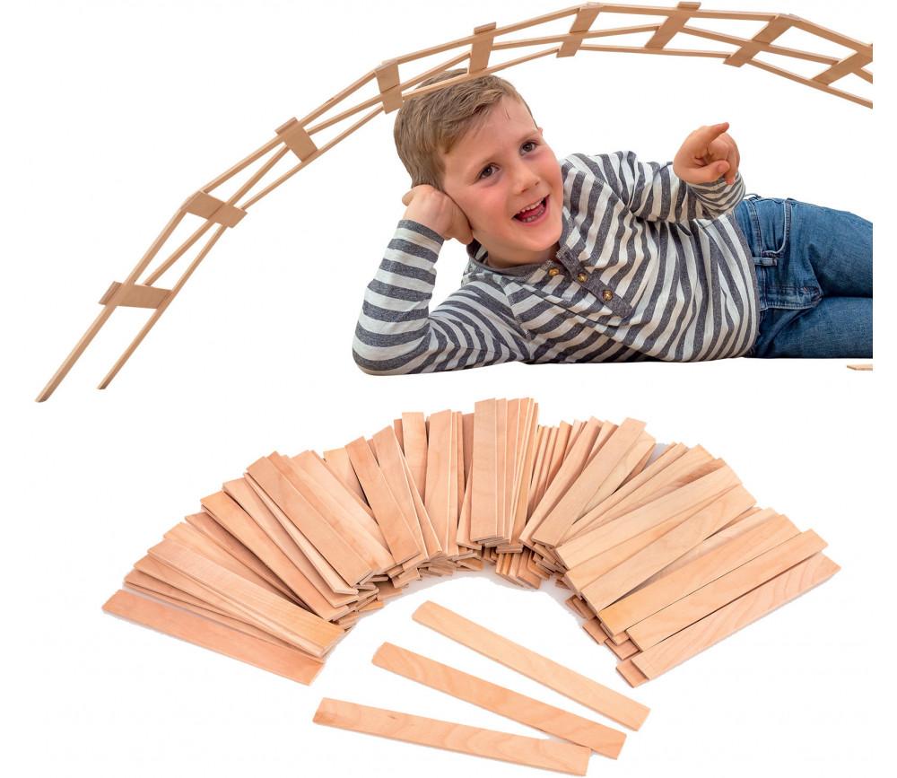 99 plaquettes en bois naturel 18 cm grands batonnets construction jeux