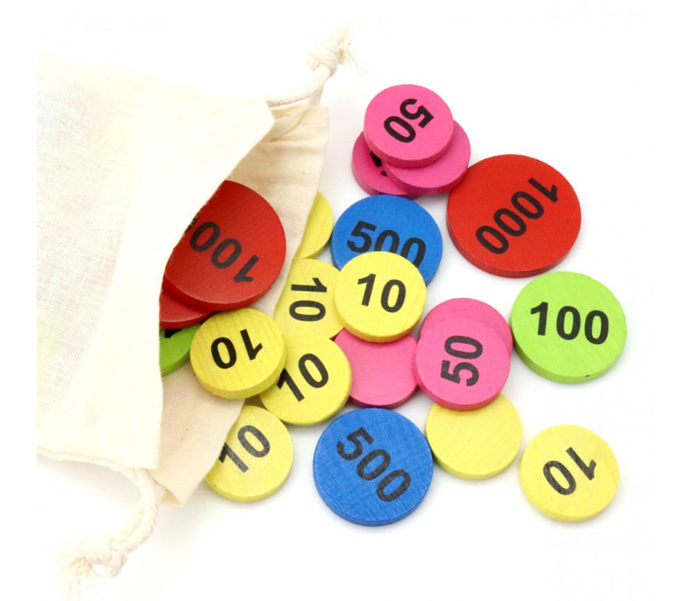 Sac 50 jetons bois numérotés de 10 à 1000 BELOTE TAROT