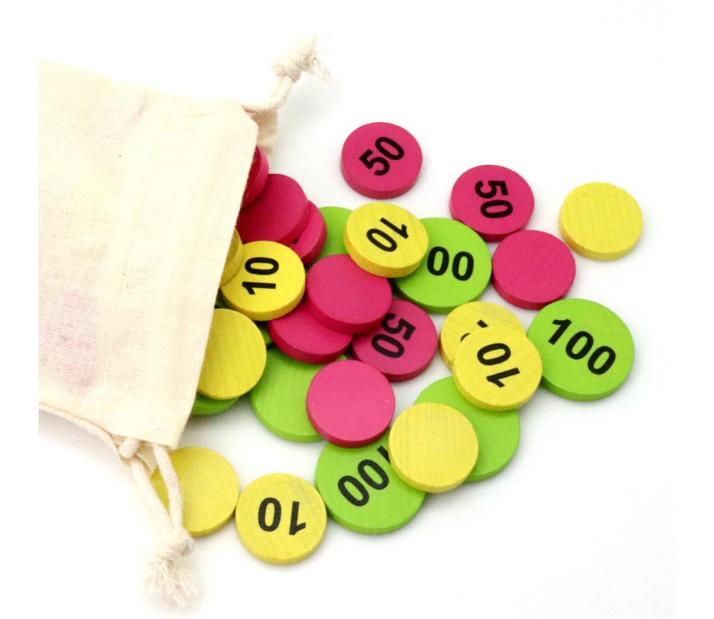 Sac 50 jetons bois numéros 10-50-100 mise jeux de cartes