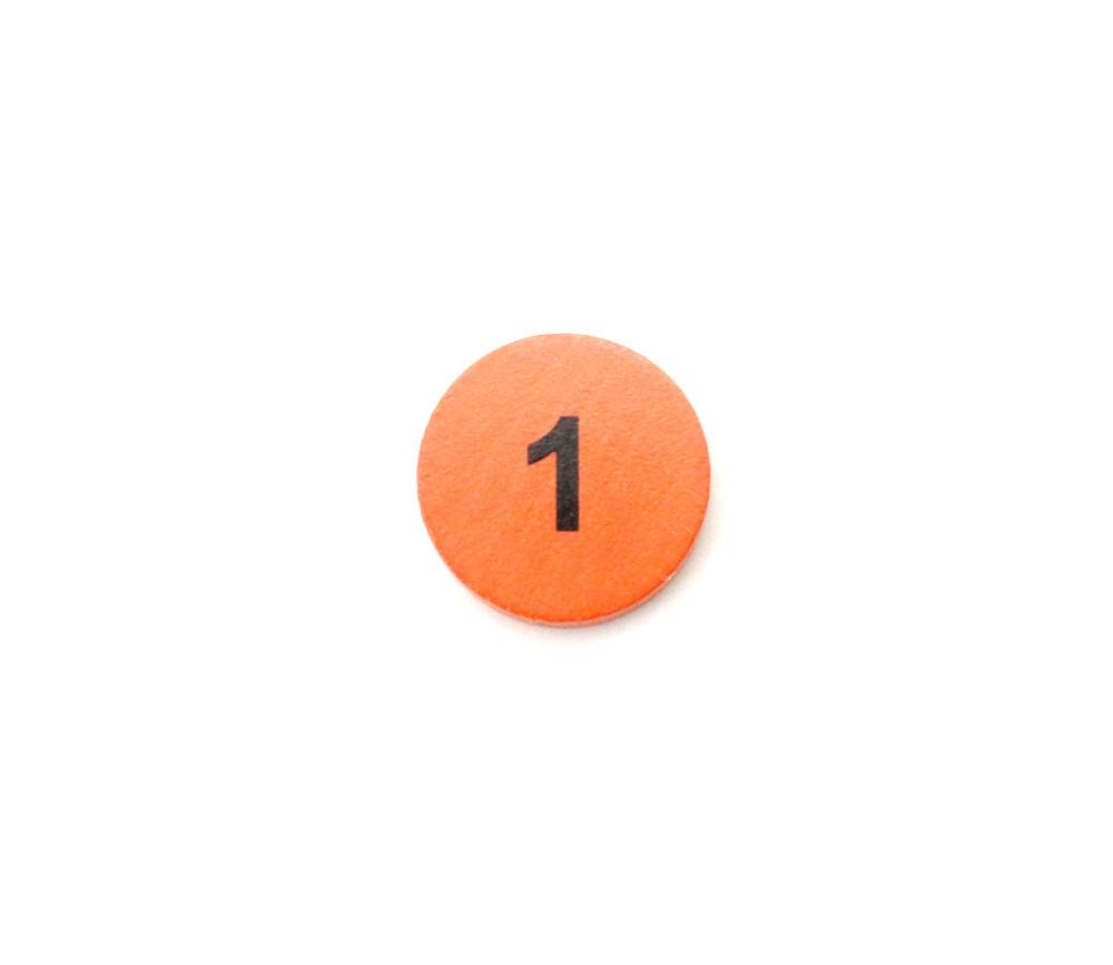 Jeton bois numéro 1 rond plat de 21 x 4 mm orange
