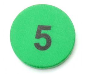 Jeton bois numéro 5 rond plat de 21 x 4 mm vert