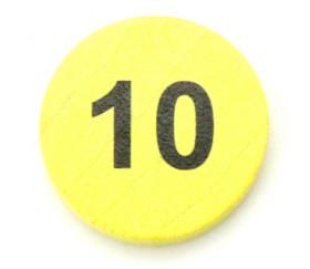 Jeton bois numéro 10 rond plat de 21 x 4 mm jaune
