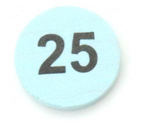 Jeton bois numéro 25 rond plat de 21 x 4 mm bleu clair
