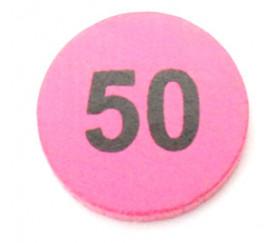 Jeton bois numéro 50 rond plat de 21 x 4 mm rose